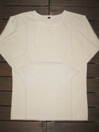 "FREEWHEELERS (フリーホイーラーズ) ""ONE SIDE FRONT""FOUR FIFTH SLEEVE SHIRTS col. CREAM×OATMEAL"
